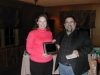 President Mark DiRienzo and wife Leslie recieving their dogs award